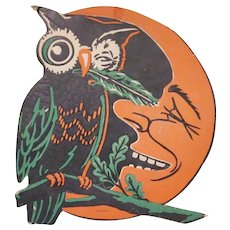 Vintage Beistle Owl with Feather Tickling the Man in the Moon Halloween Diecut Decoration with Green