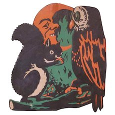 Vintage Embossed Beistle Squirrel, Owl, and Moon Halloween Diecut Decoration with Green