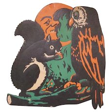 Vintage Heavily Embossed Beistle Squirrel, Owl, and Moon Halloween Diecut Decoration with Green