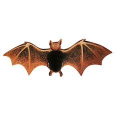 HOLD Beistle Orange, Black, and  White Bat Diecut with Tissue Honeycomb Body Halloween Decoration