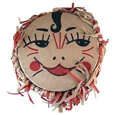 Vintage Noisemaker Drum Shaker Costumed Lady Face Crepe and Wood