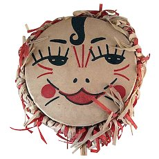Vintage Noisemaker Drum Shaker Costumed Lady Face Crepe and Wood
