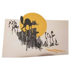 HOLD Vintage 1920s-1930s Arched Black Cat, Orange Moon, Black Fence Halloween Placecard Not Used