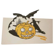 Vintage Halloween Placecard 1920s-1930s JOL, Black Bat, and Black Ghost Not Used