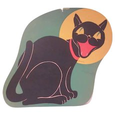 Vintage Beistle Diecut Howling Smiling Cat Against a Yellow Moon 1950s HTF