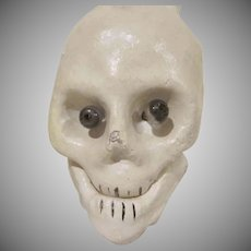 Made in Japan Composition Skull with Glass Bead Eyes and a Jointed Jaw Halloween Decoration