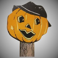 Halloween Jackolantern on Wooden Post with Hat Placecard Decoration Not Used 1930s