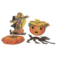Vintage Group of 4 Different Smaller Dennison Halloween  Diecut Decorations