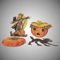 Vintage Group of 4 Different Smaller Dennison Halloween  Diecut Decorations