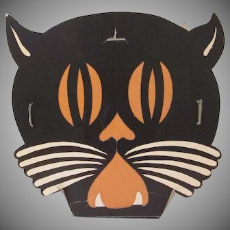 Vintage Art Deco Tommy Whiskers Cat Head Beistle Halloween Cardboard Lantern Decoration AS IS