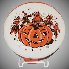 Vintage U.S. Metaltoy Halloween Party Tin Litho Tambourine Noisemaker