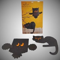 Hallmark Black Cat & Owl Fold Out Halloween Decorations in Original Package