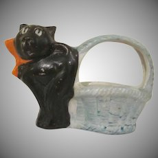 Vintage Made in Japan Bisque Black Cat with an Orange Bow by a Green Basket Cache Pot