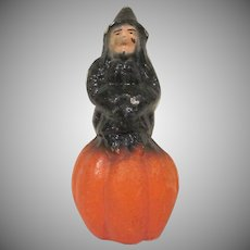 Vintage Pulp Witch on a Pumpkin Halloween Decoration