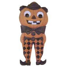 "Early Made in Germany Embossed Jackolantern Man 15"" tall Diecut in Checkered Pants"