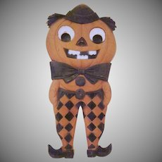 """Early Made in Germany Embossed Jackolantern Man 15"""" tall Diecut in Checkered Pants"""