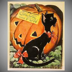 Flocked Whitman Halloween Fun and Coloring Book 1953 Not Used HTF