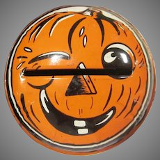 Vintage Kirchoff Halloween Shaker Noisemaker with a Winking Jackolantern
