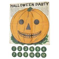 Early Saalfield Muslin Jackolantern Game Used c1900 Halloween Decoration