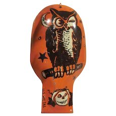 Vintage U.S. Metal Toy U.S.A. Tin Litho Halloween Clicker Cricket Noisemaker with an Owl