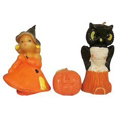 Trio of Vintage Gurley Candles Witch, JOL, and Owl Originally Sold as a Set Halloween Decorations