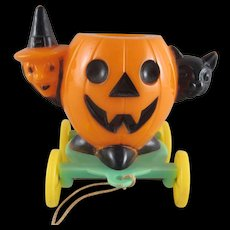 Rosbro Jackolantern with a Witch and Cat on Wheels Halloween Decoration and Candy Container