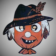 Vintage Beistle Scarecrow with Hat and Corn Cob Hair Mask