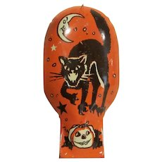 Vintage U.S. Metal Toy U.S.A. Tin Litho Halloween Clicker Noisemaker Screech Cat
