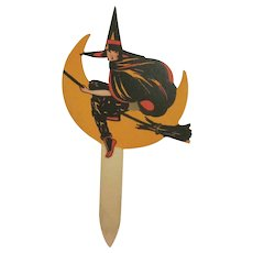 Vintage Dennison Heavy Cardboard Cupcake Pick Young Witch on a Broom Halloween Party Decoration