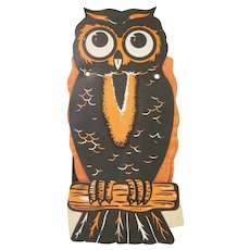 Vintage Owl with Fold Out Tissue Paper Wings Halloween Diecut Decoration Japan 1960s