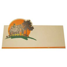 Vintage Haunted House Placecard Halloween Party Decoration