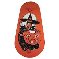 Tin Litho Halloween Ratchet Noisemaker Witch and JOL
