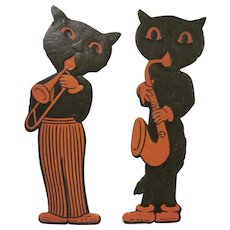 """Vintage Pair of Made in U.S.A. H. E. Luhrs Cat Musicians Embossed 8-3/4"""" Tall Halloween Diecut Decorations"""