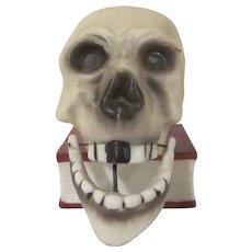Made in Japan Bisque Skull Jaw Nodder Candlestick or Match Holder