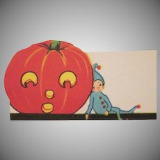 Early Halloween Placecard from the 1920s JOL with a Pixie U.S.A. Not Used