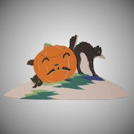 Halloween Placecard Unhappy JOL with 2 Screech Black Cats The Buzza Company