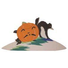 HOLD Halloween Placecard Unhappy JOL with 2 Screech Black Cats The Buzza Company
