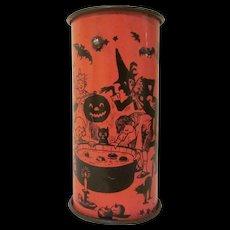 Chein 1920s Open Ended Tin Litho Ratchet Noisemaker Halloween Party Design
