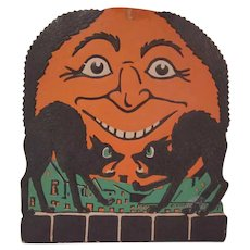Vintage  Embossed Beistle Two  Screech  Cats with a Moon Halloween Diecut Decoration with Green