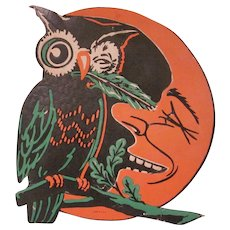 Beistle Embossed Owl with a Feather Sits by a Smiling Moon Halloween Diecut Decoration with Green