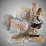 Made in Germany Bisque Dwarf and Turkey Egg Cache Pot