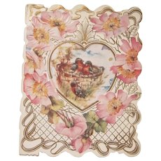Vintage To My Love Single Fold Valentine with Bluebirds and Flowers