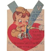 V is For Victory World War II Valentine Card Boy as Soldier