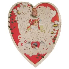 With Love Large Whitney Doily Front with Seals Heart Shaped Single Fold Embossed Valentine