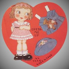 Vintage Dress Me Up Paper Doll Valentine Card Signed But Not Punched Out