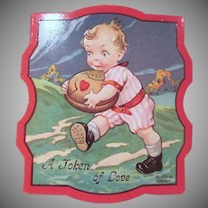 Vintage A Token of Love Embossed Boy with Football Printed in Germany Valentine
