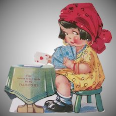 Vintage Printed in Germany Mechanical Fortune Teller Valentine