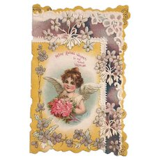 'With Loving Wishes . . .' Single Fold Valentine with an Angel