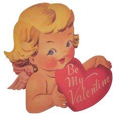 Vintage Valentine's Day Diecut Wall Hanging Cherub Holding a Heart