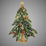 Vintage Art Enamelled Green with Rhinestones Christmas Tree Pin